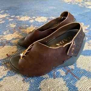 Prada Rustic Leather Wedge Sandals 7.5